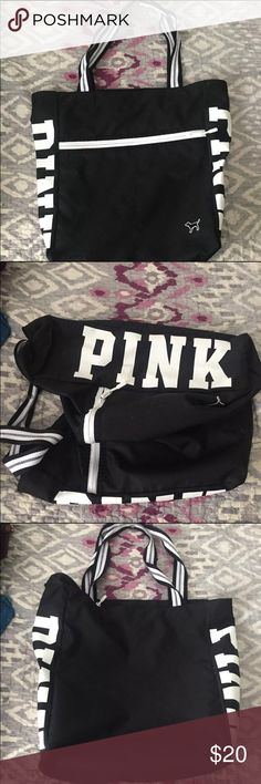 PINK VS Black Shoulder Bag Used as a gym bag for a bit. No flaws PINK Victoria's Secret Bags Shoulder Bags