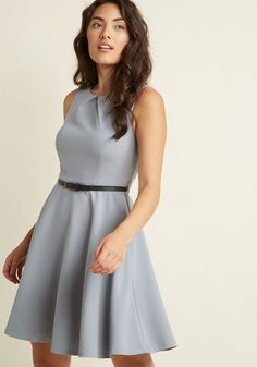 Sleeveless Belted Fit and Flare Dress in Grey in S - A-line Knee Length - Plus Sizes Available