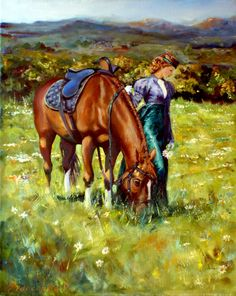 Wildflowers - Картина,  40x50x2 cm ©2014 - Roman Fedosenko -                                                                                                                                                                        #Классицизм, #Реализм, #Современная живопись, #Фигуративное искусство, #Холст, Ботанический, #Женщины, Животные, #Лошади, Люди, #Пейзаж, Цветок, #Girl, woman, #lady, #horse, #field, #meadow, mountains, space, #amazon, #flowers, walk, #landscape, original painting