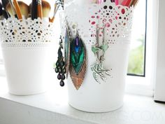 IKEA Skurar pots are a perfect way to store and display make-up, jewellery and earrings!