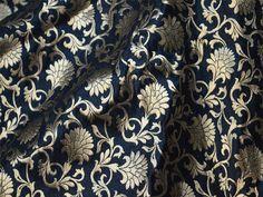 Silk Brocade Fabric by Yard, Indian Silk, Dresses Fabric - Pure Banarasi Silk Fabric in Black and Gold
