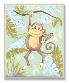 $26.59-$30.00 Baby The Kids Room Monkey in Jungle Rectangle Wall Plaque - Decorative wall plaques for the kid's room by Stupell Industries feature original artwork from in-house artists lithographed onto sturdy mdf fiberboard. Each piece is hand finished and comes with colorful grosgrain ribbon. http://www.amazon.com/dp/B0044BCZ40/?tag=pin2baby-20