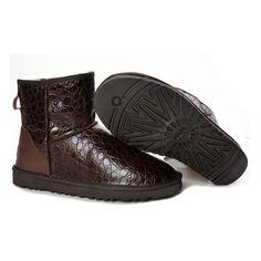 UGG Boots / UGG 5854 Classic Mini Boots Crocodile Brown via Polyvore