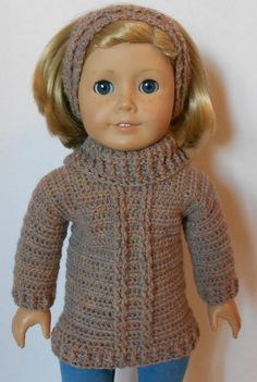 CROCHET PATTERN - PDF - Turtleneck Sweater and Headband fits American Girl Doll