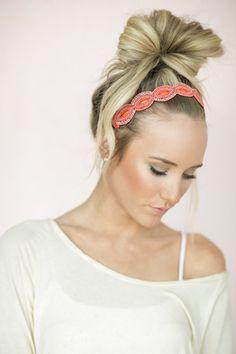 Bohemian Headband Coral Beaded Hair Band