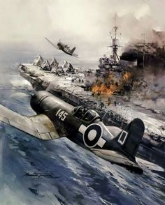 """No Place To Land"" by Michael Turner. Royal Navy Corsairs return to their carrier HMS Illustrious to find a blazing flight deck following a Kamikaze attack in the Pacific."
