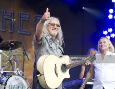 Mick Box and Bernie Shaw of Uriah Heep perform on stage during the second day of High Voltage Festival at Victoria Park on July 25, 2010 in London, England.