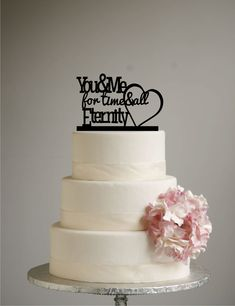 You and Me for Time and All Eternity with Heart Wedding Cake Topper Acrylic - Modern Cake Topper by SugarBeeEtching
