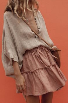 Sum All Chic, Shop Khaki Single Breasted High-low Turndown Collar Sleeve Fashion Blouse online. Spring Look, Spring Summer Fashion, Spring Outfits, Mode Outfits, Casual Outfits, Fashion Outfits, 90s Fashion, Korean Fashion, Fashion Tips