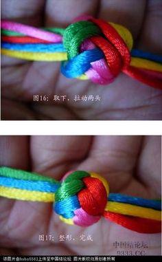 原创新结-五线十瓣大纽扣结徒手教程-编法图解-图文教程区-中国结论坛 - Macrame Owl, Macrame Knots, Micro Macrame, Macrame Jewelry, Paracord Braids, Paracord Knots, Paracord Keychain, Rope Crafts, Diy Arts And Crafts