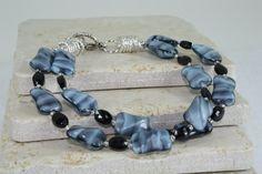 Black and Blue Double Strand Bracelet by SanasCreations on Etsy, $29.50