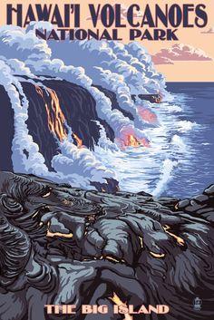 Print (The Big Island, Hawaii - Lava Flow Scene - Lantern Press Artwork)