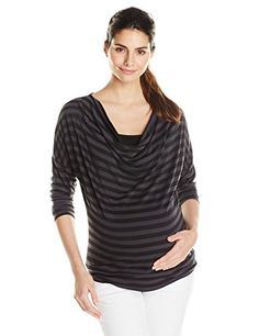 5735f87d5d25a Everly Grey Womens Maternity 34 Sleeve Wickham Shirt Charcoal Stripe Small  >>> More info could be found at the image url.(It is Amazon affiliate link)  #dog