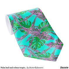 Shop Palm leaf and coleus tropical ice neck tie created by Butterflybeestro. Tropical Design, Custom Ties, Fire And Ice, Unique Image, Coral Pink, Night Out, Palm, Leaves, Pattern