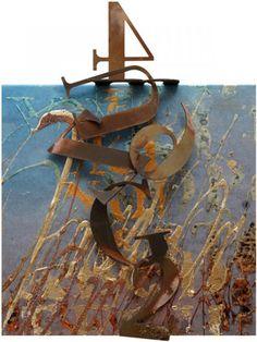 "Enrico Benetta, ""Atlantide"", mixed media and cor-ten steel on canvas, 2011, cm 30x30"
