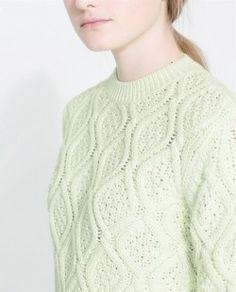 Zara knit sweater lime
