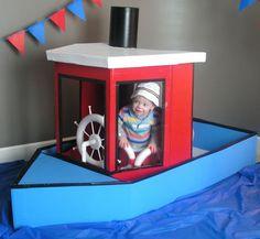 Cardboard boat playhouse - FUN!