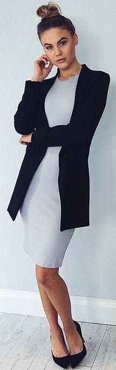 #fall #executive #peonies #outfits | Black Blazer + Grey Midi Dress