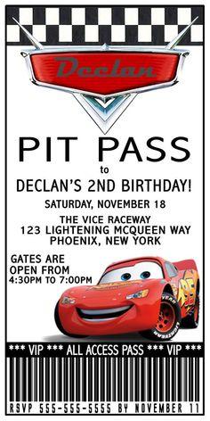 Disney Lightening Mcqueen Ticket Birthday Invitation And Or