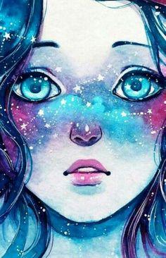 ideas eye wallpaper drawings for 2019 Fantasy Kunst, Fantasy Art, Pretty Art, Cute Art, Art Galaxie, Art Mignon, Anime Kunst, Galaxy Art, Galaxy Anime
