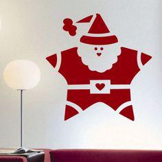 Vinyl Wall Lettering Big Santa Star Christmas Holiday Decal Decoration