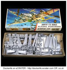 Vintage Airfix Flying Fortress Kit. Type 3 / Red Stripe Box Kit. 1/72 Scale. Produced c. 1963-1973.