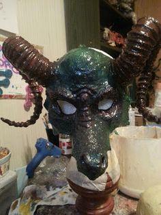 Thea's Krafty Kitchen: Upadated :Dragoness Masquerade Mask created by Thea Higgins . www.theaskraftykitchen.blogspot.com   #Dragon masquerade mask #masquerade mask #mask #Halloween #ball #paper Mache #carnival #circus #cloak #costume  #masked ball #mardi  gras