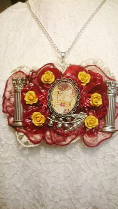 Necklace kiss of Klimt temple columns of Athena red and