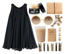 """""""babydoll"""" by supercoookie ❤ liked on Polyvore featuring rag & bone, Monki, ASOS, Laundry, round sunglasses, cardholders, babydoll dress, empire cute dress and blue and beige"""