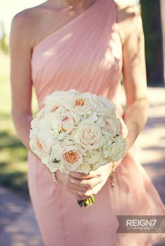 beautiful blush and cream bridesmaid bouquet
