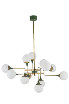 Anonymous; Brass, Enameled Metal and Opaline Glass Ceiling Light by Stilnovo, 1950s.
