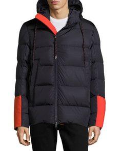 MONCLER Drake Colorblock Down Jacket, Navy. #moncler #cloth #