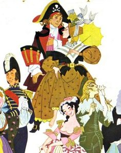 Pictured from left to right, Little Buttercup's arm, Captain Corcoran, Frederick, Mabel, Patience, Archie Grosvenor, and the elbow of the Lord Chancellor.