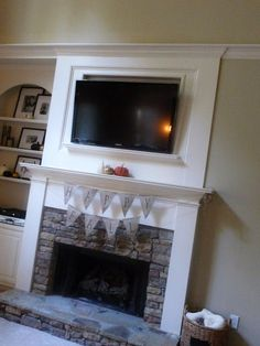 burlap banner Tv Over Fireplace, Fireplace Redo, Fireplace Remodel, Fireplace Design, Fireplace Ideas, Simple Fireplace, Fireplace Shelves, Mantle Ideas, Little Baby Garvin