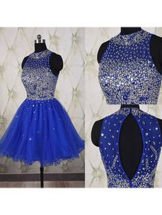 Beaded Sequins Short Royal Blue Prom Evening Homecoming Cocktail Dresses 99602118