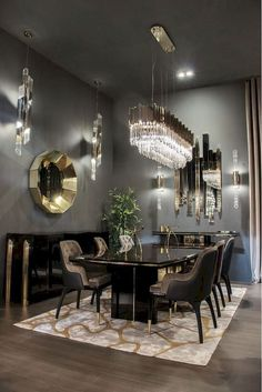 32 Fabulous Contemporary Dining Room Decorating Ideas - The latest trends, the newest styles, ah, this is what makes the world go around. Contemporary dining room sets can help you to make a statement about. Luxury Dining Tables, Elegant Dining Room, Luxury Dining Room, Dining Table Design, Modern Dinning Room Ideas, Classic Dining Room, Luxury Rooms, Luxury Apartments, Dining Room Images