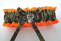 Neon Orange and Camo Hunter Garter by ShabeeStitches on Etsy, $18.00