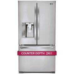 LG 24CuFt 3-Door French Door Ultra Capacity Counter-Depth Refrigerator in Stainless Steel