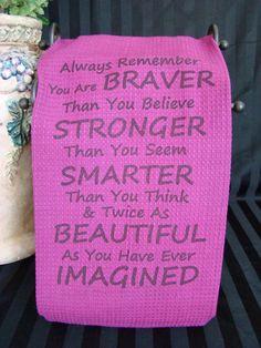 Always Remember - Uplifting Quote - Purple tea towel - custom printed via Etsy