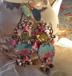 Lilygrace pastello rosa Cameo orecchini con perle Vintage strass e fiori in…