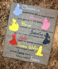 Disney Inspired T-Shirt  - Princesses - Cinderella, Aurora, Belle, Jasmine, Ariel, Snow White - Love and Fears Shirt