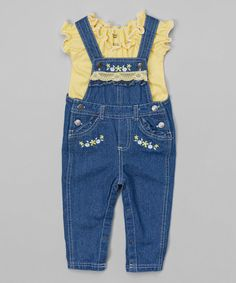 Nannette Girl Yellow Ruffle Top & Denim Overalls - Infant, Toddler & Girls | zulily
