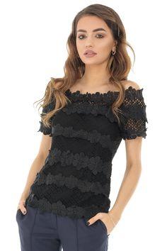 Bluza crosetata, neagra, cu maneci scurte, ROH - BR2104 Camisole Top, Tank Tops, Fit, Women, Fashion, Moda, Halter Tops, Shape, Fashion Styles