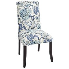 Bedroom?  Picnic in a field of flowers without ever leaving your seat. Hand-upholstered in durable linen fabric with a traditional Jacobean floral print in indigo, the Angela Deluxe Dining Chair also features a tight, self-welted seat and classic rolled back. Quite possibly the tastiest morsel at the table.