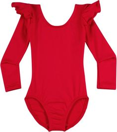 Infant, Toddler and Girls Cute Black Long Sleeve Leotard with Ruffle Shoulder Red Long Sleeve Bodysuit, Long Sleeve Leotard, Toddler Leotards, Dance Leotards, Red Leotard, Twirl Skirt, Dance Outfits, Dance Wear, Dance Skirts