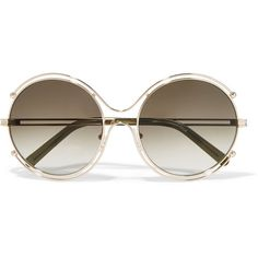 Chloé Isidora round-frame gold-tone and acetate sunglasses ($335) ❤ liked on Polyvore featuring accessories, eyewear, sunglasses, gold, acetate sunglasses, round sunglasses, oversized sunglasses, heart sunglasses and heart shaped glasses
