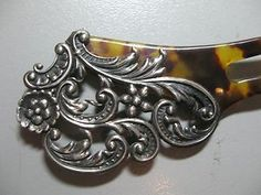 Antique ART Nouveau Victorian Celluloid Tortoise Hair Comb Pick Silver Repousse | eBay