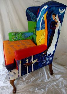 """My Chagall inspired chair which I painted with acrylic paint. """"In our life there is a single colour, as on an artist's palette, which provides the meaning of life and art. It is the colour of love."""" Marc Chagall"""