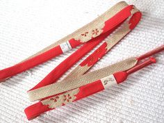 Japanese Furisode Obi-Jime, Silk Kimono Cord, Flat Obijime, Formal, Gold and Amaranth Red Sakura Flowers