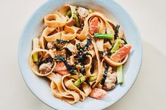 Hot Sesame Noodles with Scallions and Ground Meat / Photo by Chelsea Kyle, Food Styling by Anna Stockwell